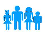 logotype blue family over white background poster
