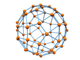 blue molecule with orange atoms poster
