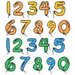 chiffres et ballons colorés