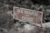 faded beware of dog sign poster