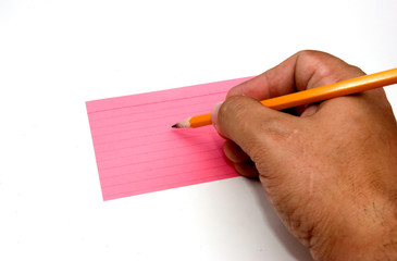 writing on a notecard
