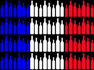 wine bottles and french flag