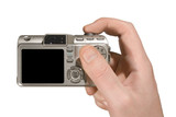compact camera in hand poster