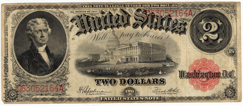 vintage two dollar bill 1917