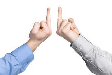 business men with middle finger in front, isolated