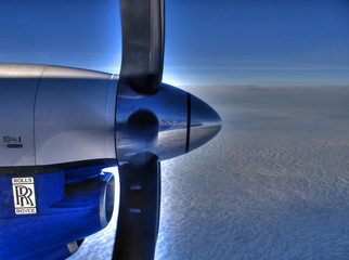 plane engine and the sky