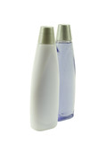 two bottles of blue shampoo; angle view poster