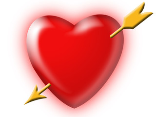 gold arrow in a heart