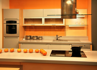 orange attractive kitchen