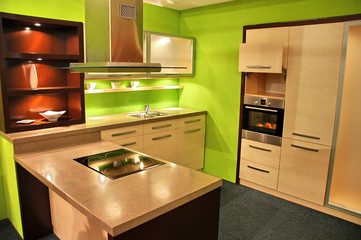 attractive green kitchen