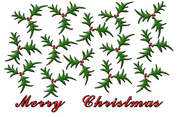 merry christmas with juniper branch