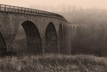 sepia aqueduct in the winter