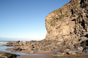 eroding cliff rock face, porthtowan, cornwall.