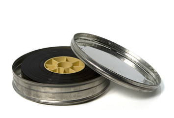 movie trailer in metal film can