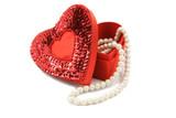 valentine box & pearls on white poster
