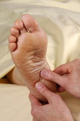spa reflexology foot massage thumbs to heel