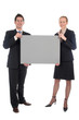 business couple holding blank sign