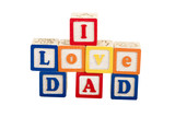 i love dad on white with path poster