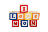 i love mom on white with path poster