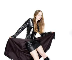woman in tight leather