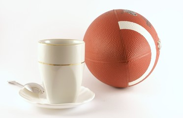 foot ball and cup of coffee