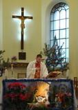 roman catholic cathedral christmas interrior poster