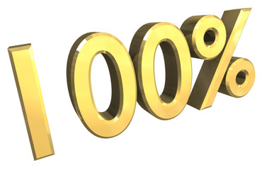 simbolo cento per cento 100% in oro