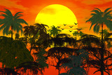 sunset over jungle poster