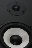 two audio speakers bass and tweeter clode up view poster