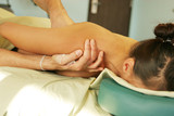massage therapy - therapist giving back massage poster