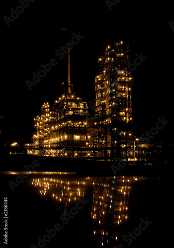 poster of the chemical factory at night