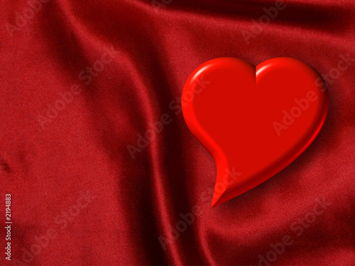 valentine heart on red satin