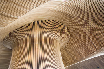 architectural details of welsh assembly building, cardiff bay, u