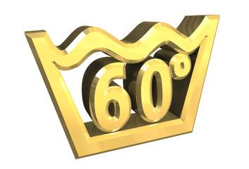 simbolo lavaggio 60° in oro - washing symbol