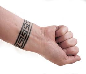 wrist tattoo body art of greek key symbol isolated