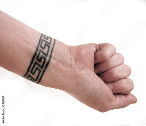 wrist tattoo body art of greek key symbol isolated