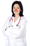 attractive lady doctor with a red nose poster