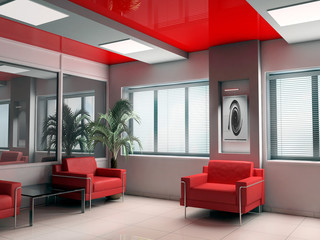 modern office  in red