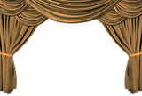gold theater stage draped with curtains poster
