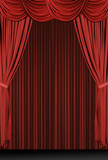 vertical red draped stage poster