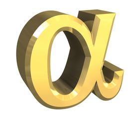 simbolo alfa in oro a fondo bianco