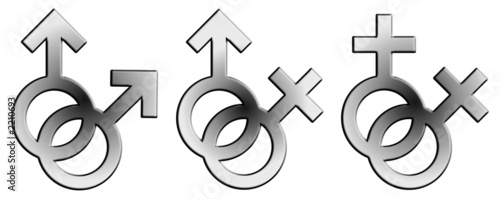 embossed sign of male and female