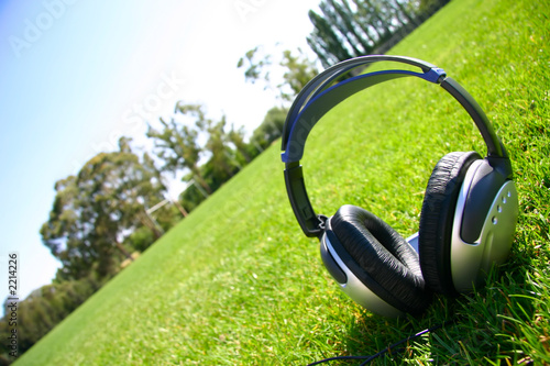 silver headphones on green grass