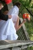 bride dress white gown veil flower bouqet back poster