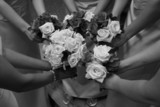 elegant bw bridal party flower bouquet with arms poster