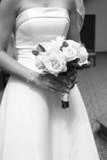 dress gown black white front flower hand bouquet poster