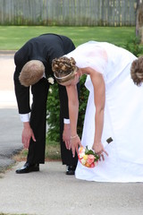 stretching humor funny comical fun bride groom wed
