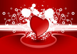creative valentine greeting card with heart in red color, vector poster