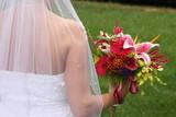 veil dress gown love flower tropical bouquet bloom poster