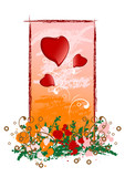 creative grunge valentine greeting card with heart, vector illus poster